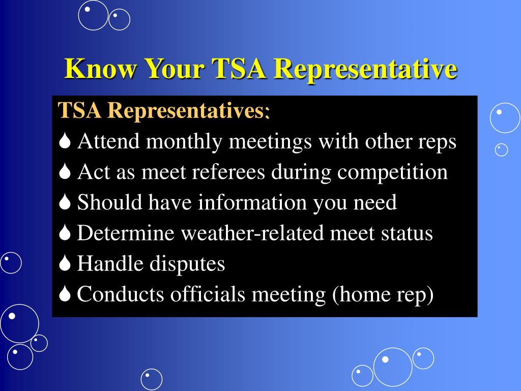 Know Your TSA Representative