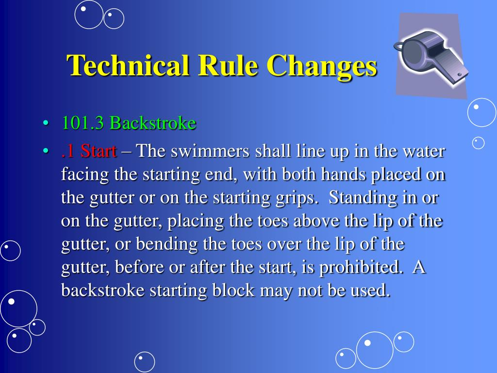 Technical Rule Changes