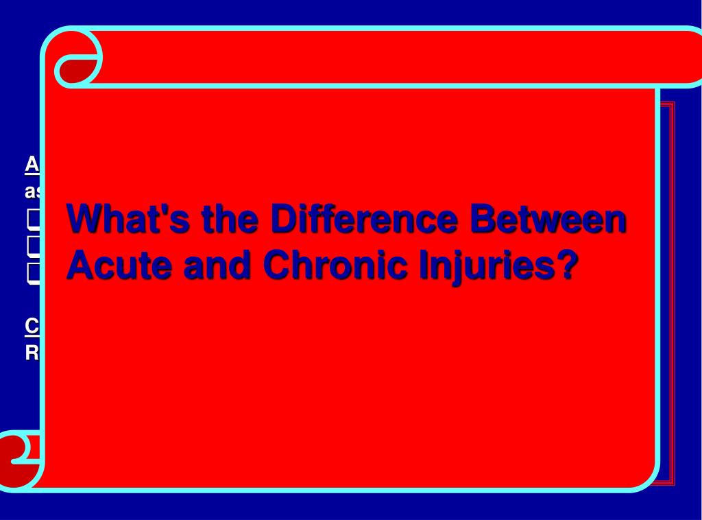 Acute Versus Chronic Injuries