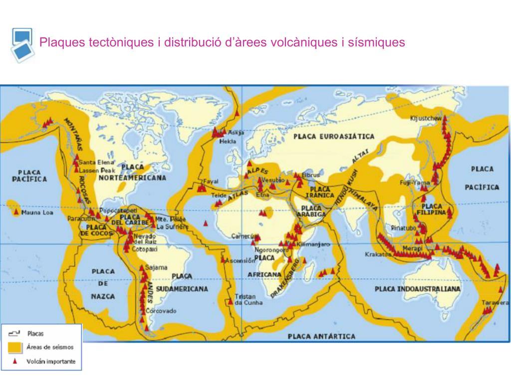 Plaques tectòniques i distribució d'àrees volcàniques i sísmiques