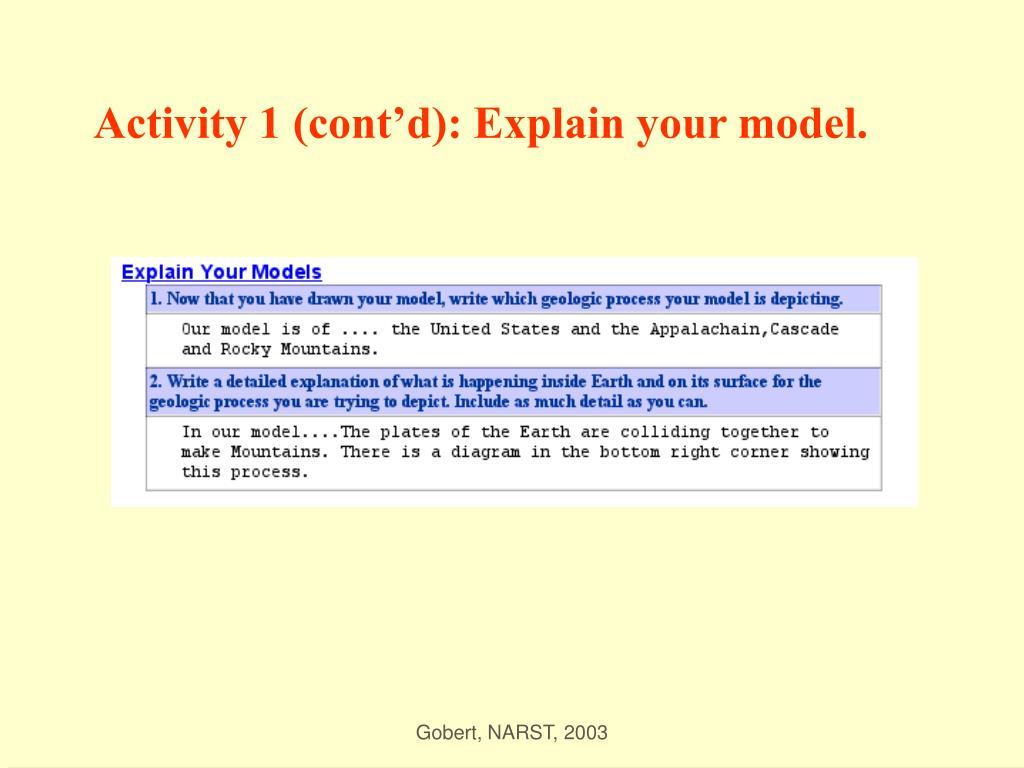 Activity 1 (cont'd): Explain your model.