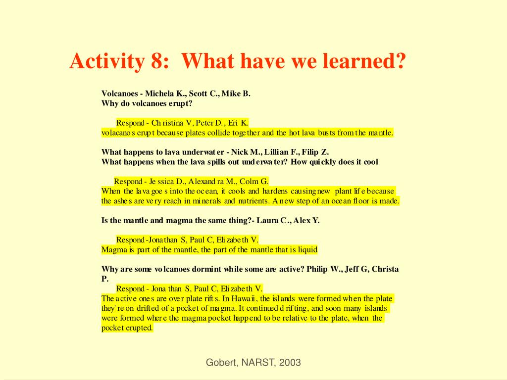 Activity 8:  What have we learned?