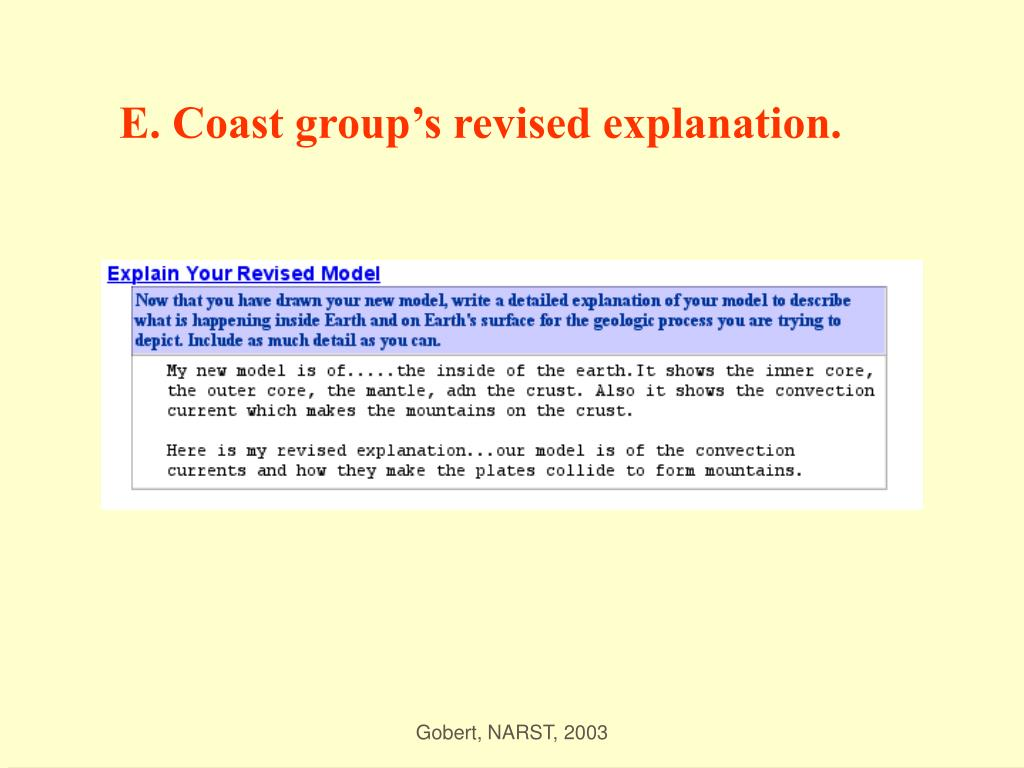 E. Coast group's revised explanation.