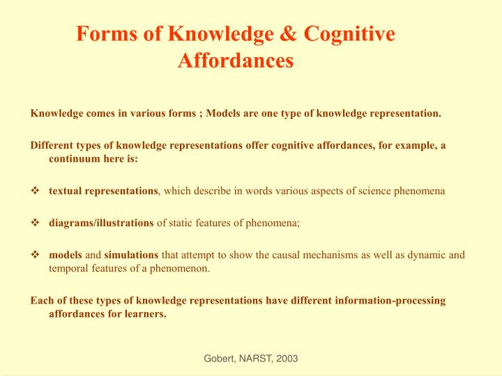 Forms of knowledge cognitive affordances