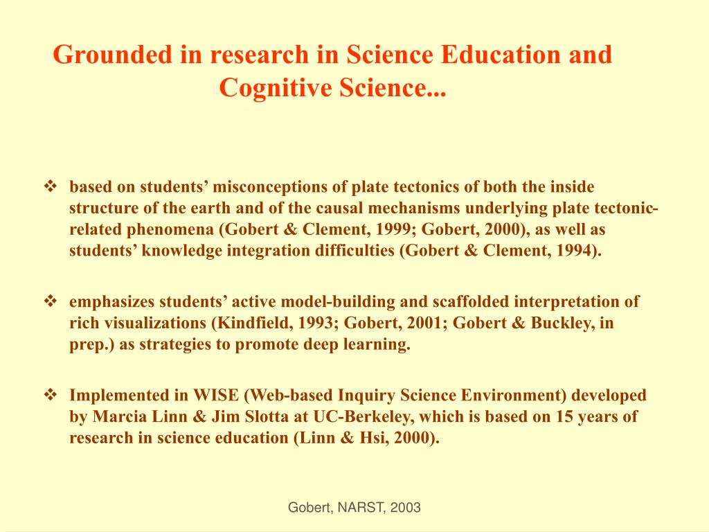 Grounded in research in Science Education and Cognitive Science...