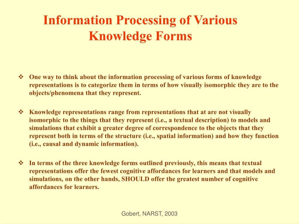 Information Processing of Various Knowledge Forms