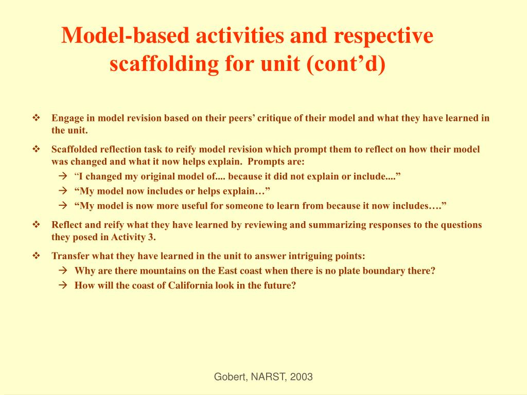 Model-based activities and respective scaffolding for unit (cont'd)