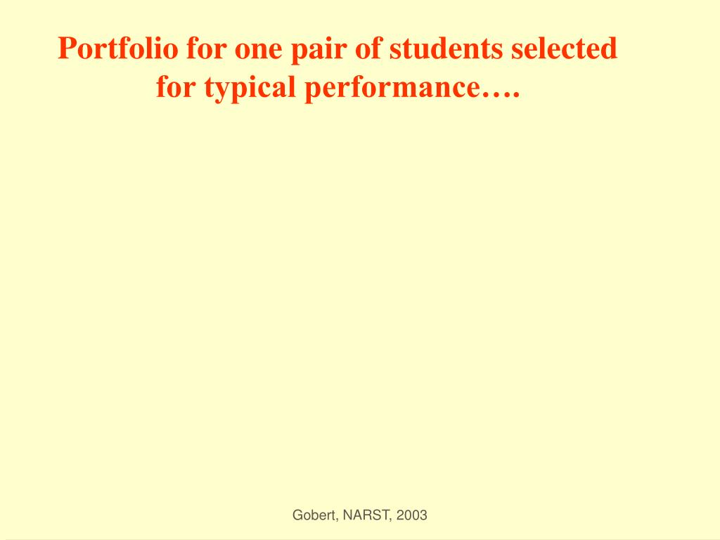 Portfolio for one pair of students selected for typical performance….