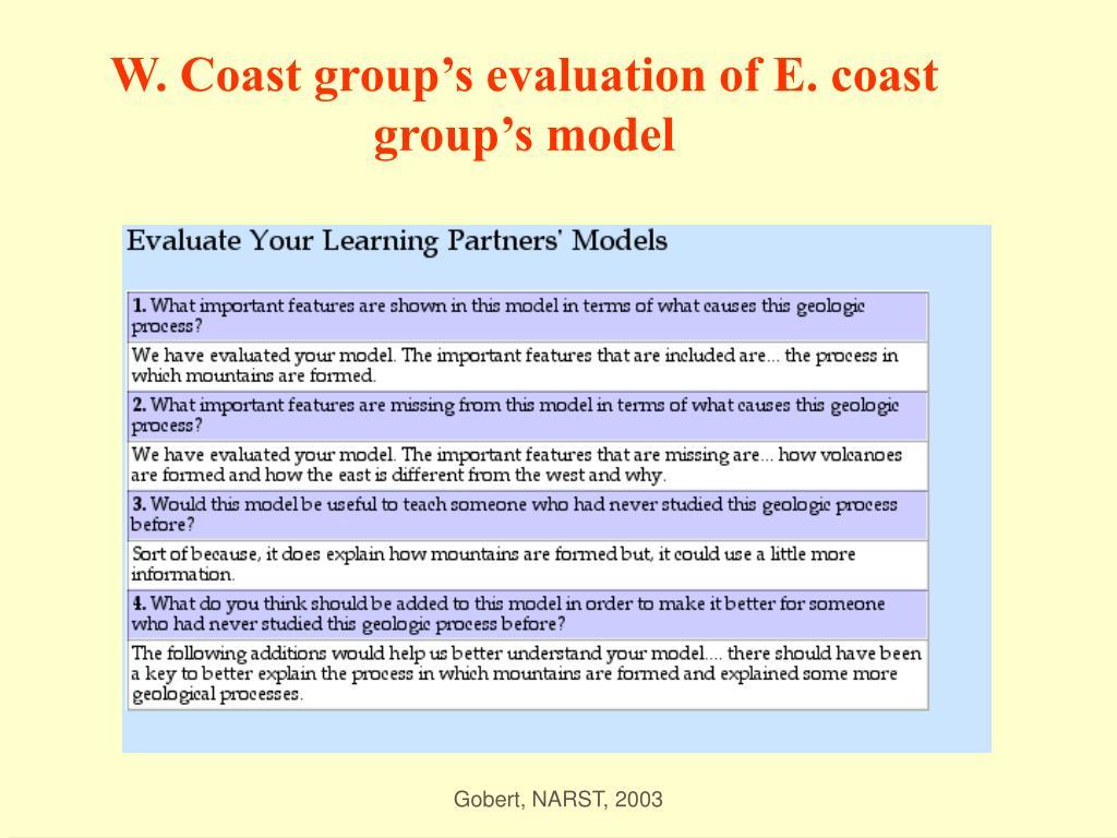 W. Coast group's evaluation of E. coast group's model