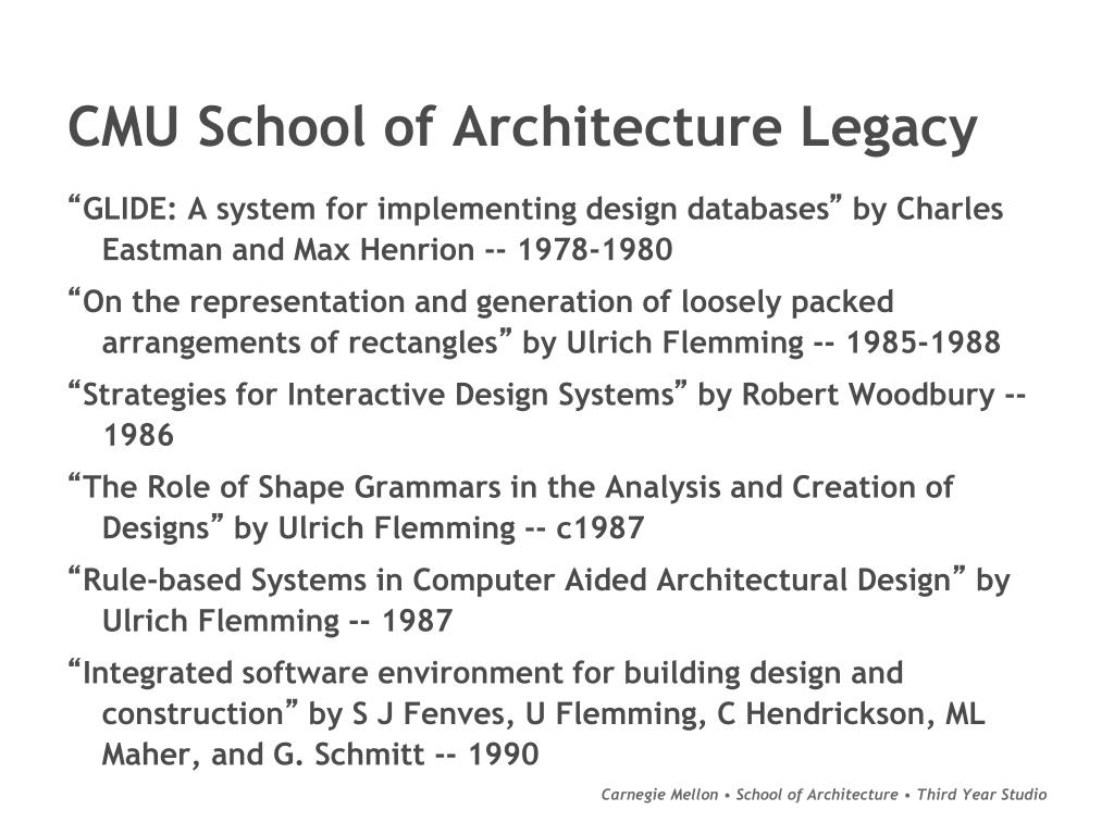 CMU School of Architecture Legacy