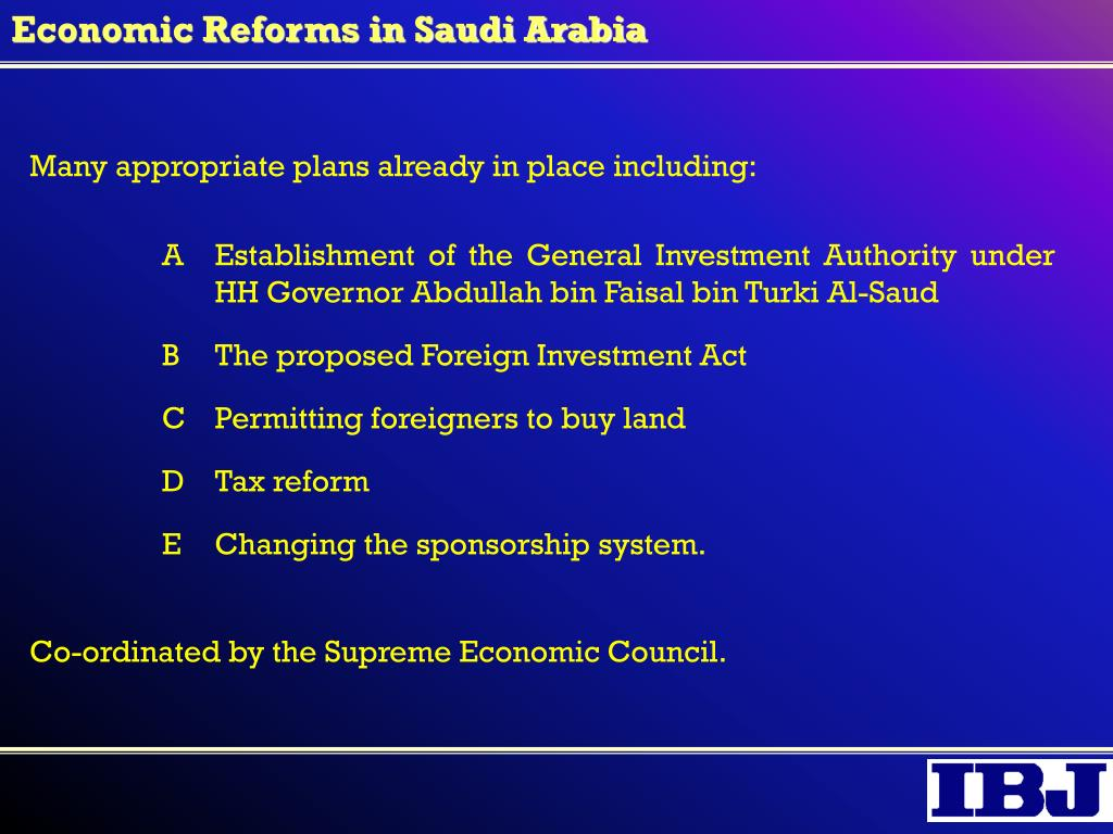 Economic Reforms in Saudi Arabia