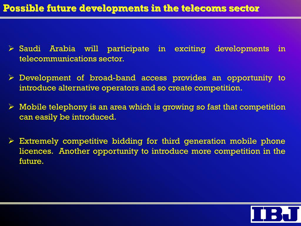 Possible future developments in the telecoms sector