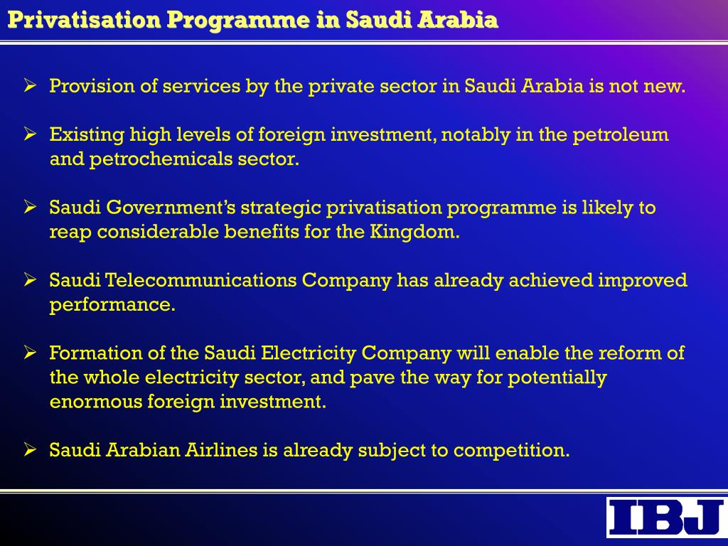Privatisation Programme in Saudi Arabia
