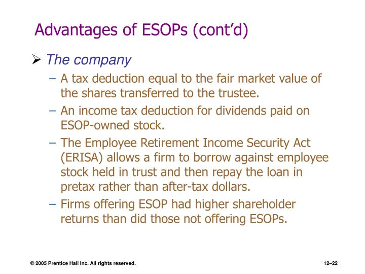 Advantages of ESOPs (cont'd)