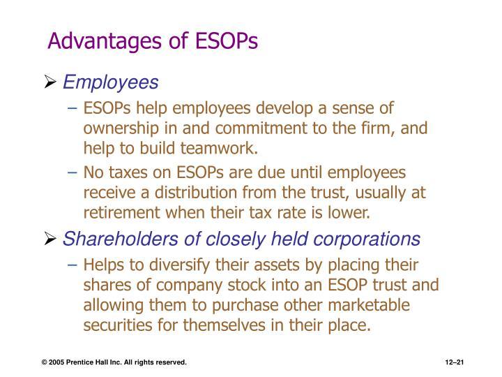 Advantages of ESOPs