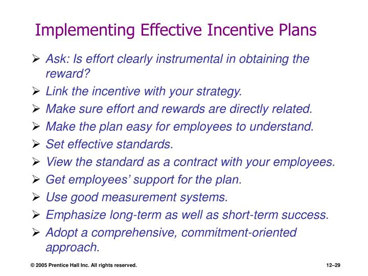 Implementing Effective Incentive Plans