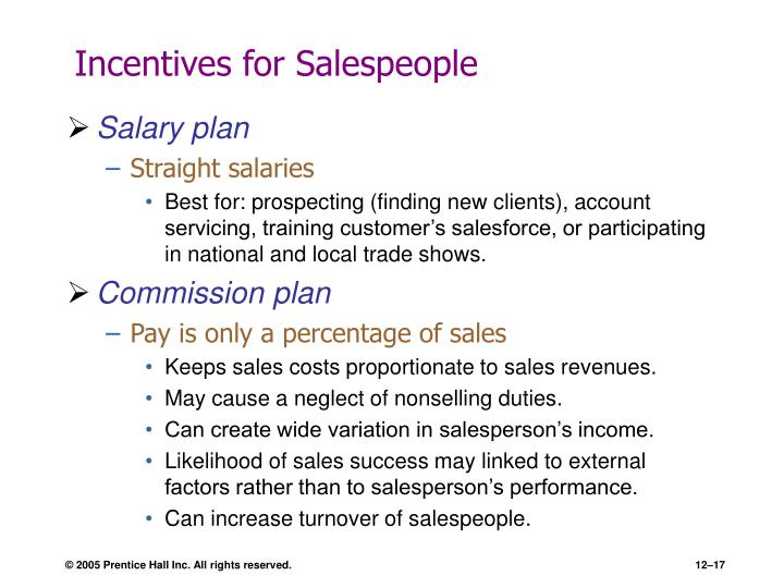 Incentives for Salespeople