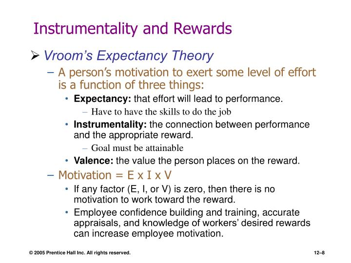 Instrumentality and Rewards