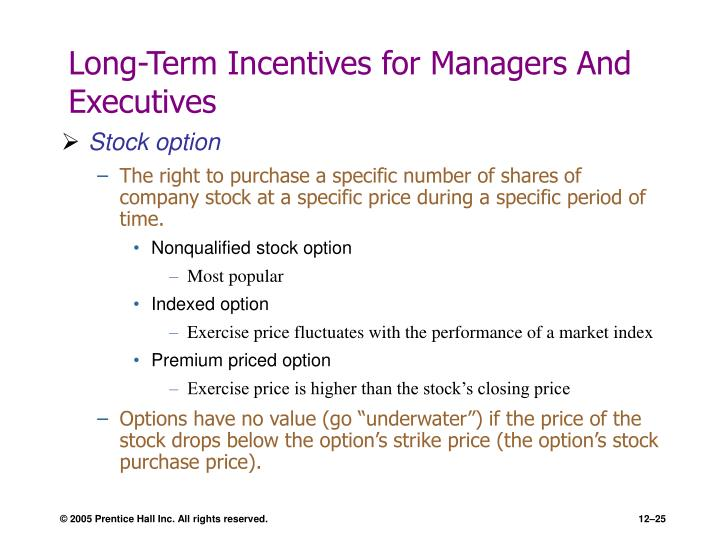 Long-Term Incentives for Managers And Executives