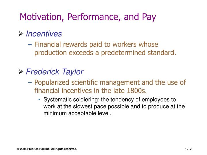 Motivation performance and pay