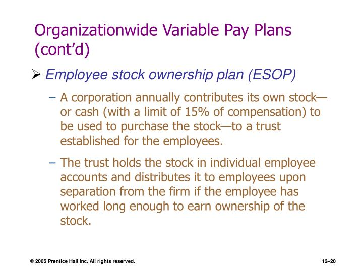 Organizationwide Variable Pay Plans (cont'd)