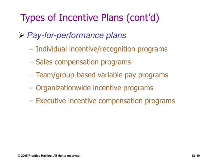 Types of Incentive Plans (cont'd)