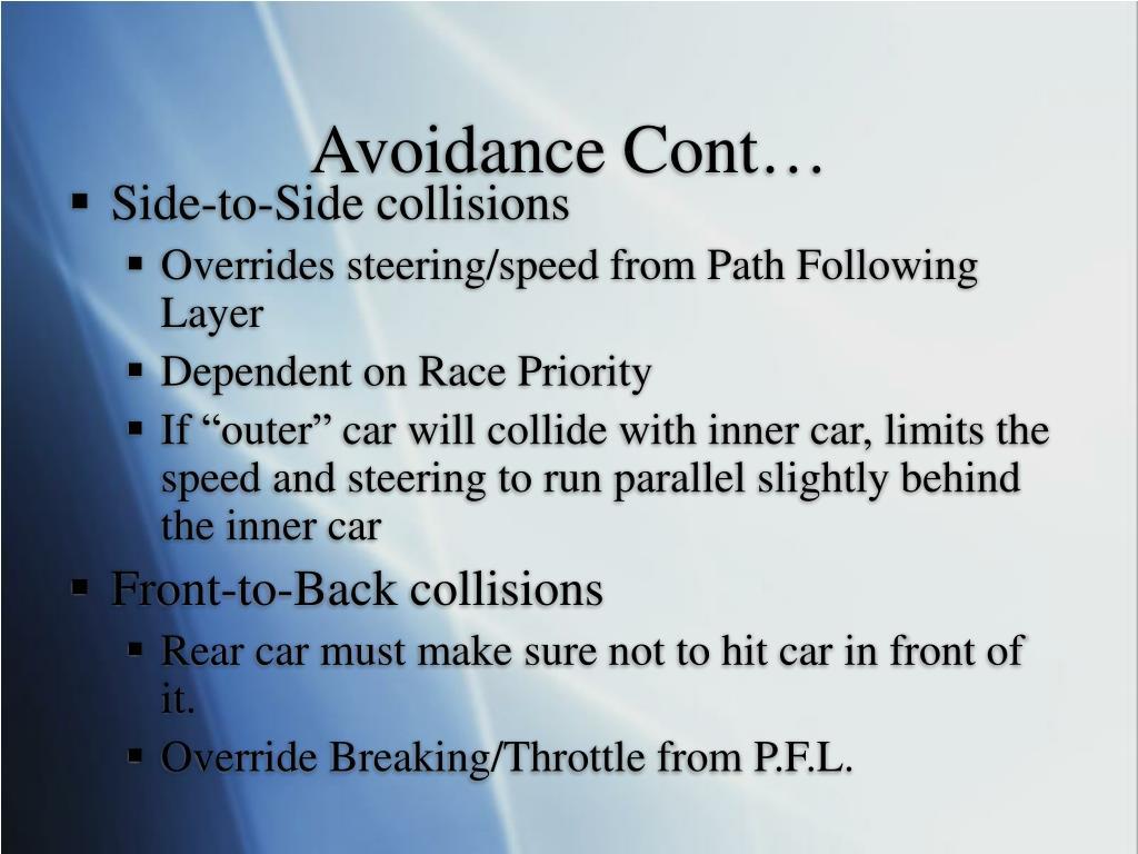 Avoidance Cont…