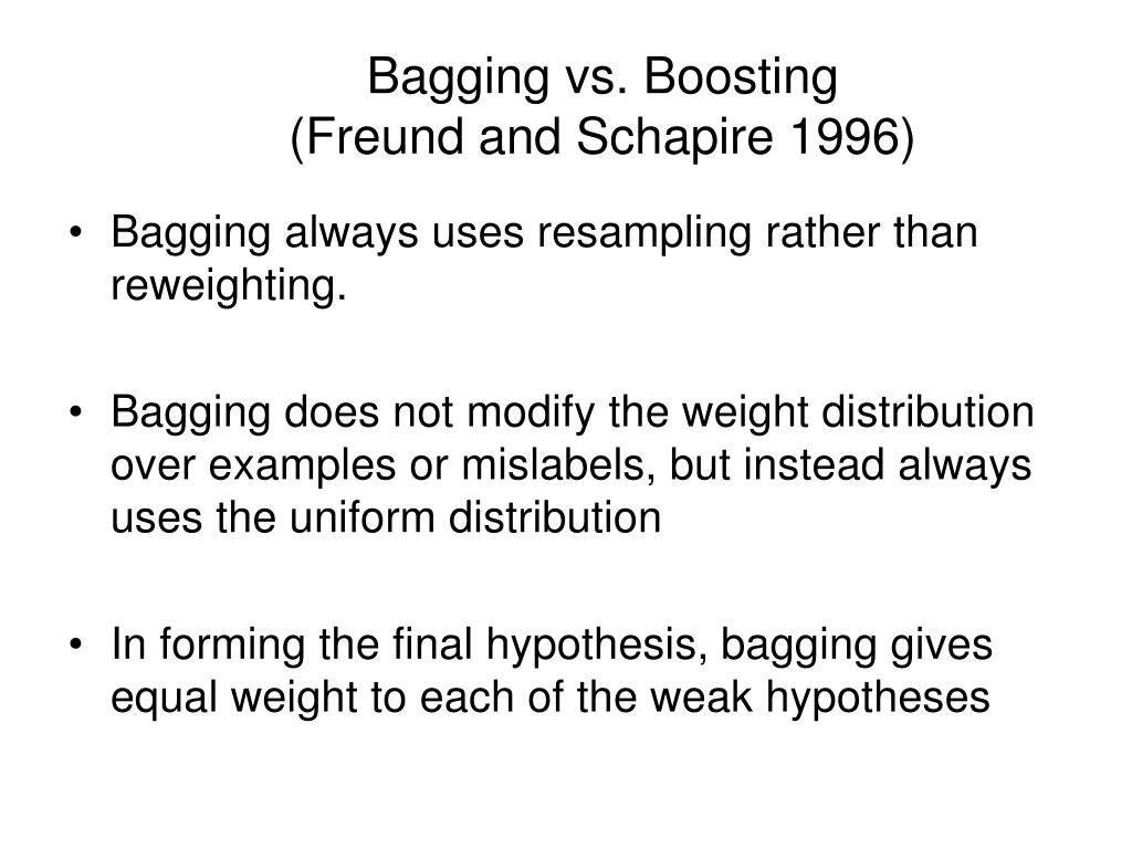 Bagging vs. Boosting