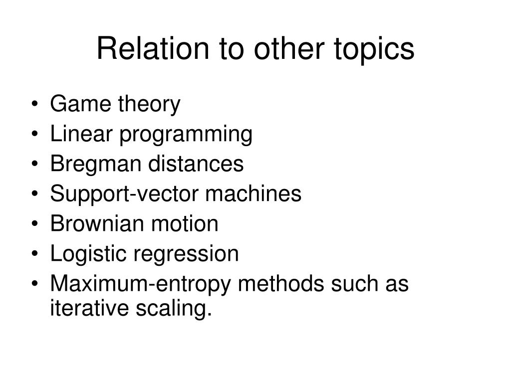 Relation to other topics