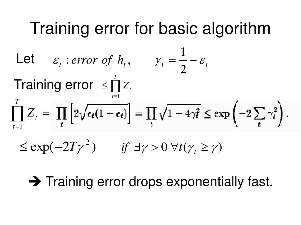 Training error for basic algorithm
