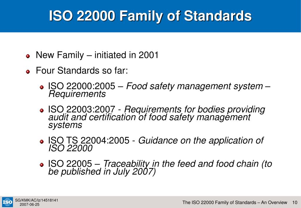 ISO 22000 Family of Standards