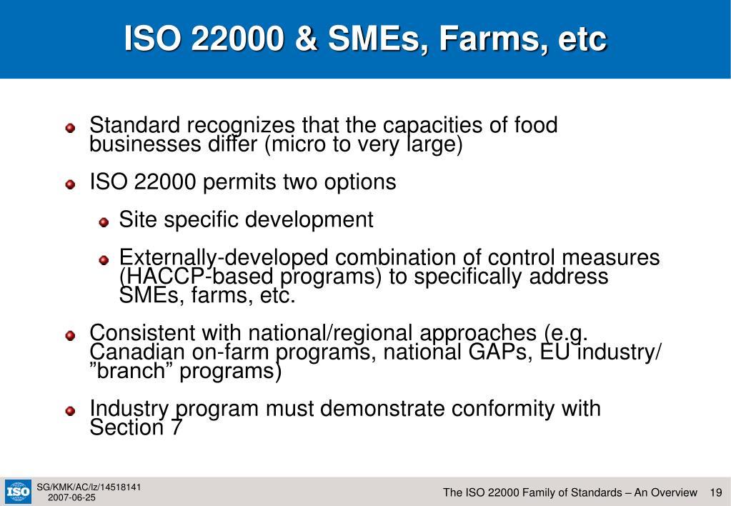 ISO 22000 & SMEs, Farms, etc