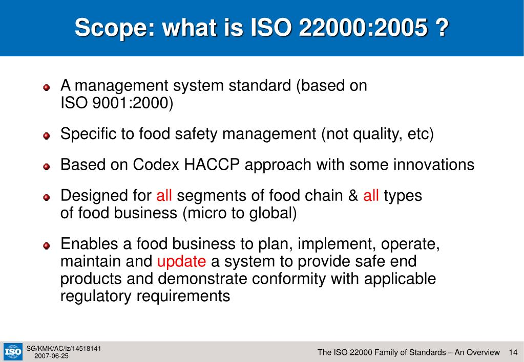 Scope: what is ISO 22000:2005 ?
