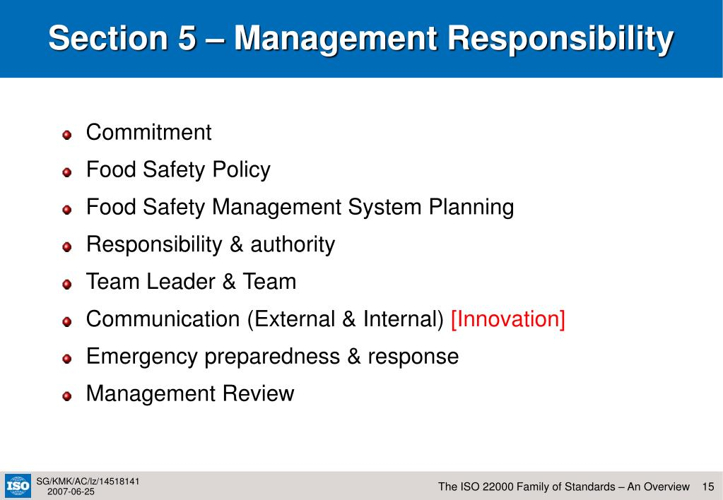 Section 5 – Management Responsibility