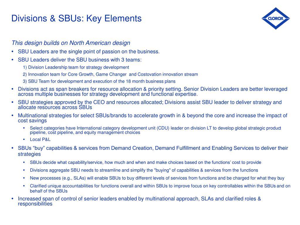 Divisions & SBUs: Key Elements
