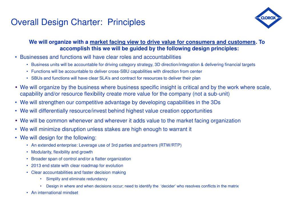 Overall Design Charter:  Principles