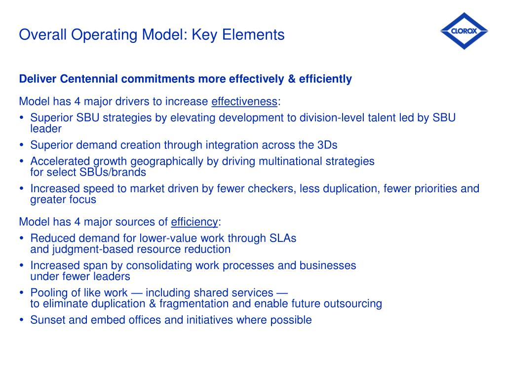 Overall Operating Model: Key Elements