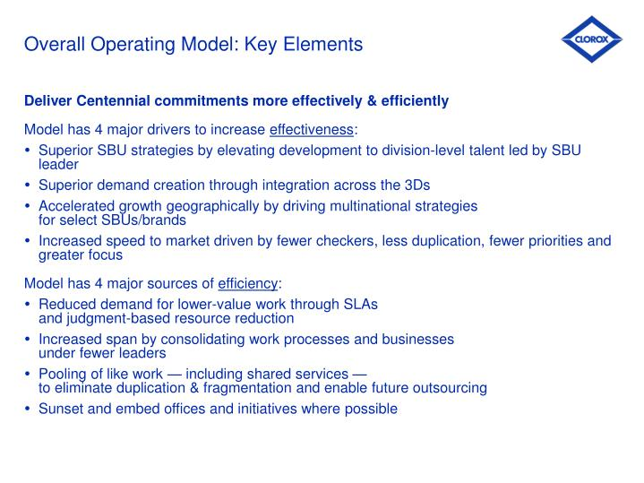 Overall operating model key elements