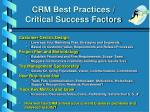 crm best practices critical success factors