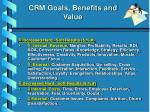 crm goals benefits and value