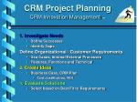 crm project planning crm innovation management tm