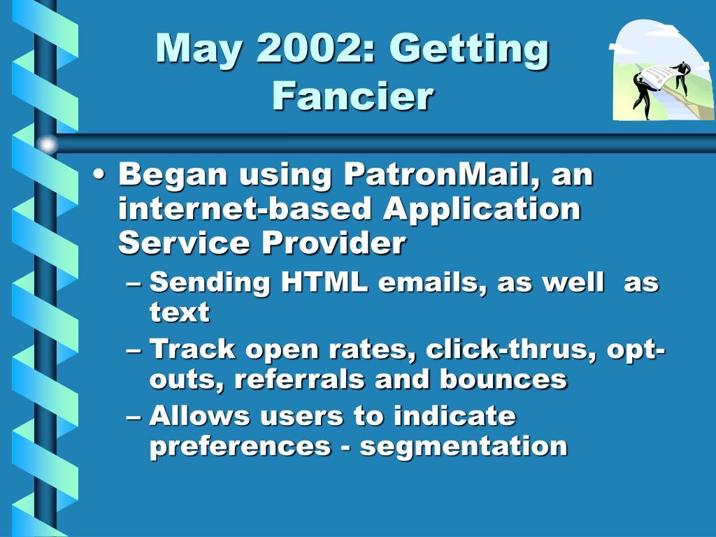 May 2002: Getting Fancier