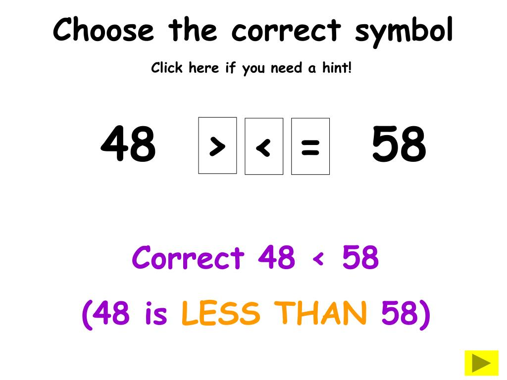 Choose the correct symbol