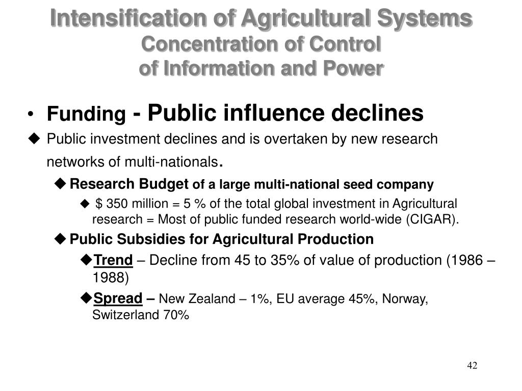 Intensification of Agricultural Systems