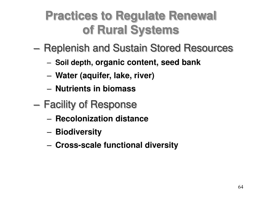 Replenish and Sustain Stored Resources