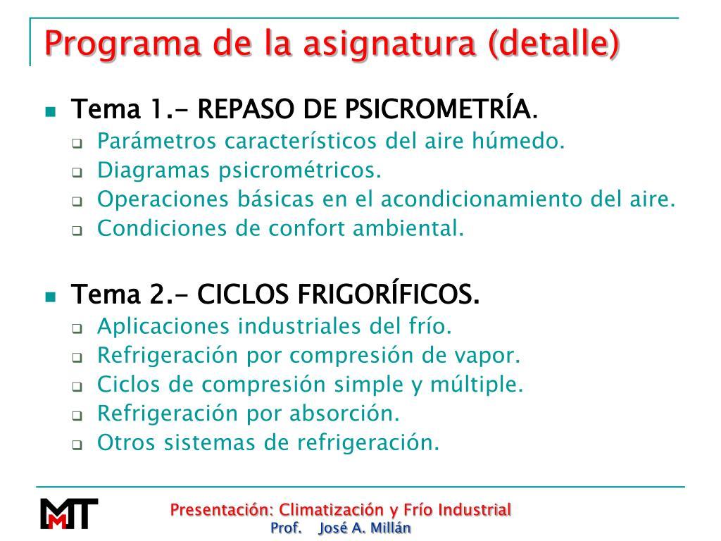 Programa de la asignatura (detalle)