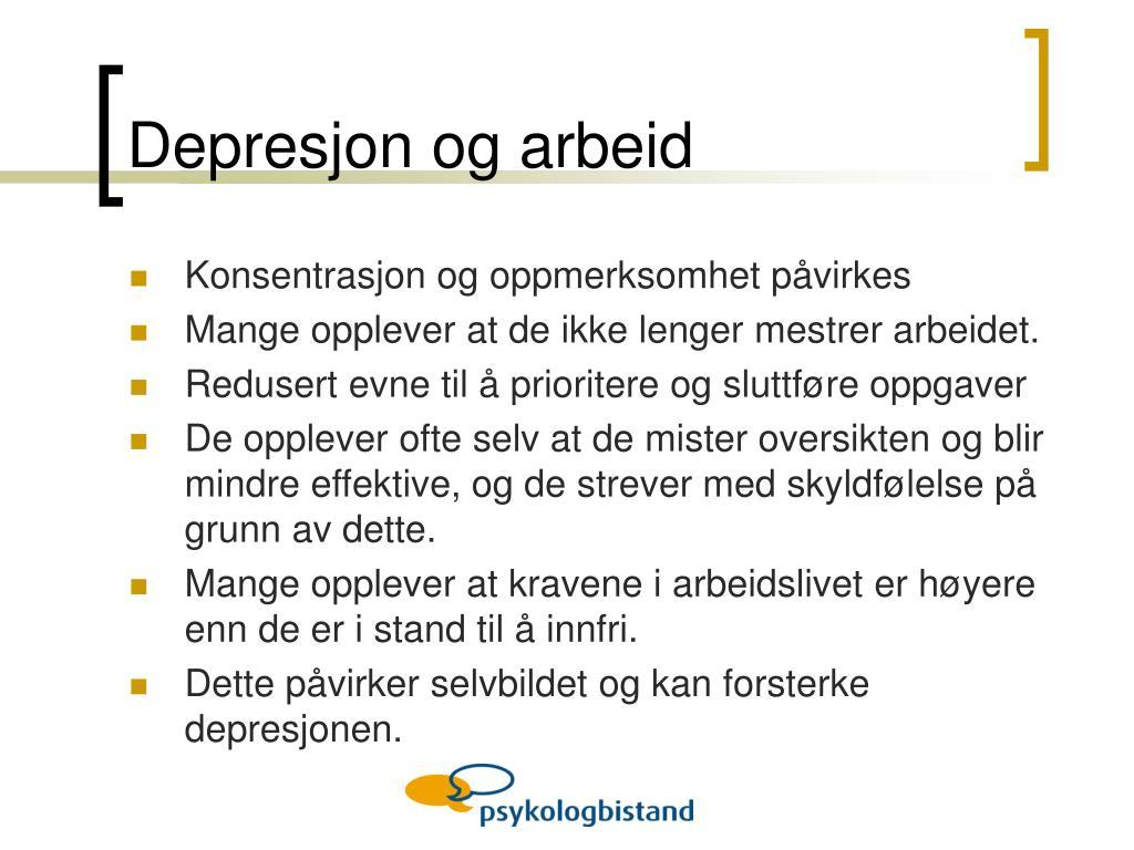Depresjon og arbeid