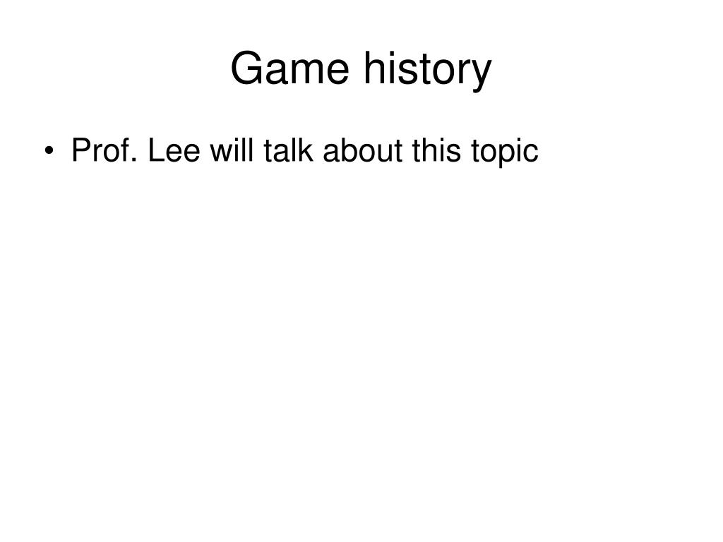 Game history
