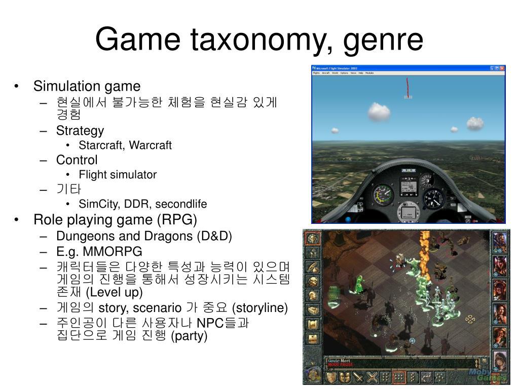 Game taxonomy, genre