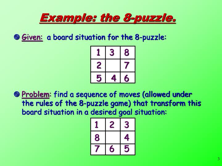 Example: the 8-puzzle.